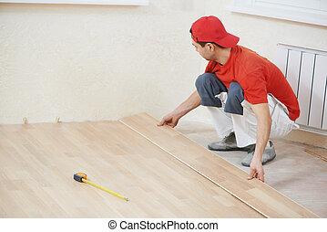 associando, trabalhador, carpinteiro, parket, chão