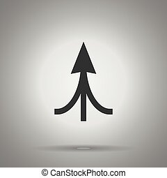 associated arrow icon . three arrow united at one