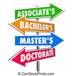 Associates Bachelors Masters Doctorate Degrees Signs 3d...