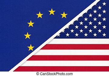 association., albo, textile., bandera, eu, rada, krajowy, zjednoczenie, symbol, usa, vs, europa, europejczyk