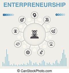 association, bâtiment, icônes, contient, direction, icons., entrepreneurship, infographic, tel, investisseur, équipe