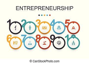association, bâtiment, icônes, direction, entrepreneurship, infographic, conception, équipe, investisseur, template.