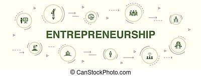 association, bâtiment, icônes, investisseur, cercle, 10, infographic, design., équipe, étapes, direction, entrepreneurship