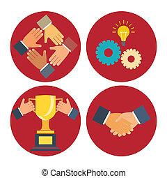 association, coopération, icônes