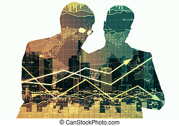 association, et, croissance financière, concept