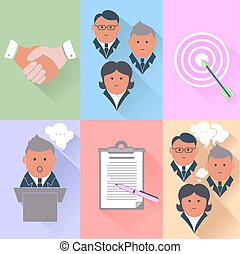 association, gestion, collaboration, icones affaires