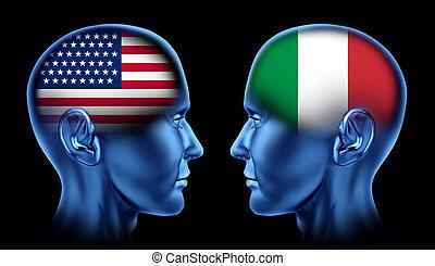 association, italie, etats-unis, commercer