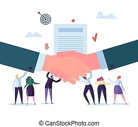 association, plat, poignée main, caractères, professionnels, agreement., concept., signer, illustration, réussi, vecteur, contract., coopération