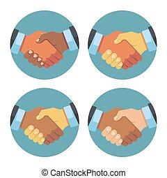 association, poignée main, ensemble, icones affaires, vecteur, international