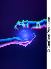 association, robot's, mains, symbole, technology., entre, gens, femme