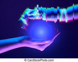 association, robot's, symbole, entre, mains, femme, technology., gens