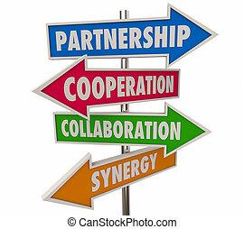 association, signes, flèche, illustration, coopération, 3d