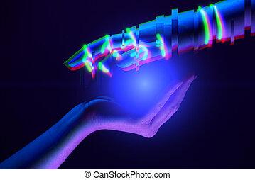 association, symbole, technology., mains, robot's, entre, gens, femme