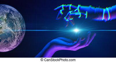 association, symbole, technology., robot, mains, entre, nasa., ceci, meublé, gens, éléments, image, femme