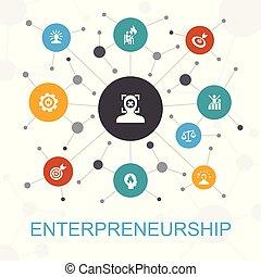 association, toile, concept, bâtiment, icônes, contient, direction, icons., entrepreneurship, tel, branché, investisseur, équipe