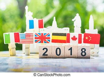 associazione, concetto affari, concept., cooperazione, nuovo, 2018, anno, internazionale, felice