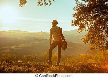 assolo, donna, turista, adattare, distanza, dall'aspetto