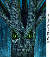 assombrado, árvore