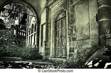 assombrado, antigas, casa
