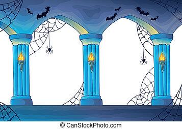 assombrado, castelo, interior, colunas