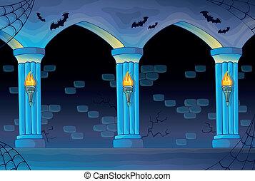 assombrado, castelo, interior, fundo