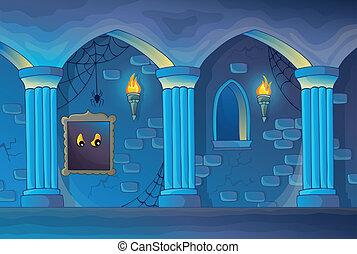 assombrado, castelo, interior, tema, 1