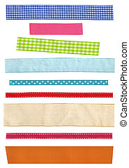 Assort of colorful beautiful ribbons. Many narrow strip of...