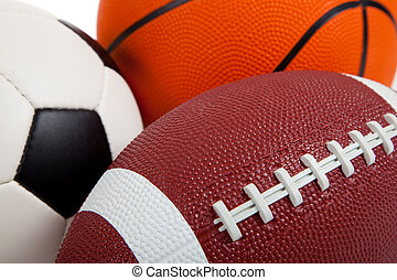 assorted, виды спорта, мячи, на, белый