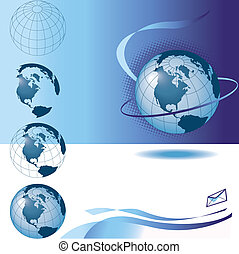 Assorted abstract images of planet earth with a global email theme
