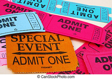 "Assorted ""admin one"" ticket stubs, closeup"