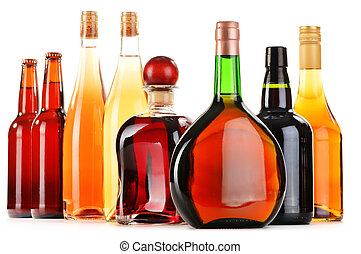 Assorted alcoholic beverages isolated on white background