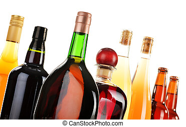 Assorted alcoholic beverages isolated on white
