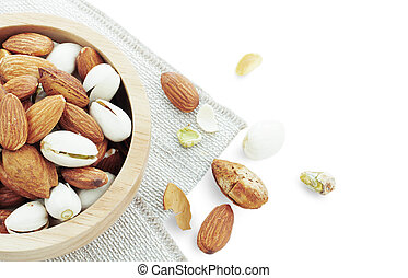 Assorted almonds in a bowl.