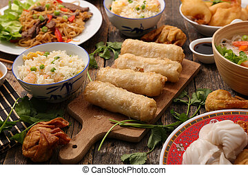 assorted asian cuisine dish