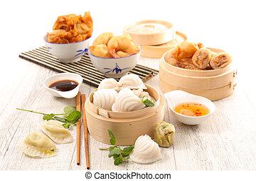 assorted asian cuisine, food