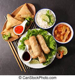 assorted asian food