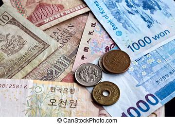 Assorted Asian money.
