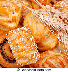 assorted bakery and wheat ears