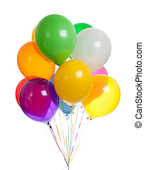 Assorted balloons on a white background