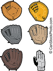 Six Assorted Professional Baseball Glove Types: switch thrower's glove, outfielder's glove, pitcher's glove, infielder's glove, first baseman's glove, catcher's mitt,