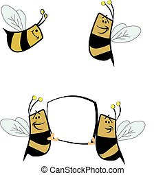 bees - assorted bees with copy space tor messaging