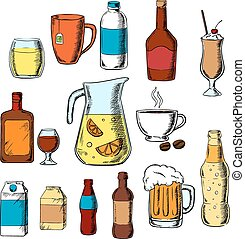 Assorted beverages, alcohol and drinks