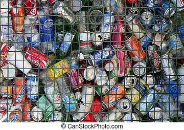 assorted beverages cans on the trash, colored texture