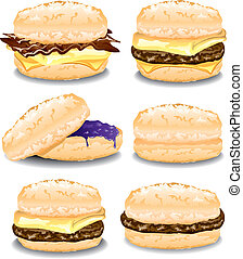 Illustration of six assorted breakfast biscuit sandwiches.