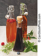 Assorted bottles of vinegar