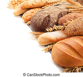 assorted breads isolated on a white background