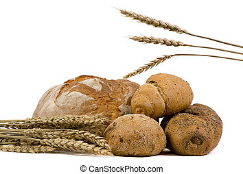 Assorted Breads with wheat isolated