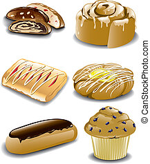 Illustration of various breakfast danish and pastries.
