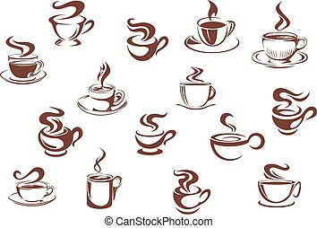 Assorted brown cups of hot coffee in sketch style isolated...