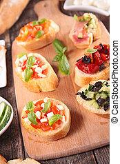 assorted canape, bruschetta